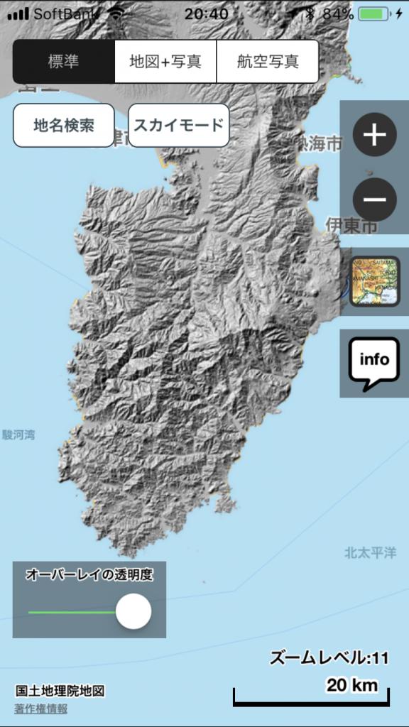 伊豆半島をAppleMap + 標準 + 陰影起伏図のオーバーレイで表示。